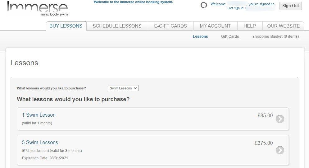 Immerse Booking System - Buy Lessons Tab