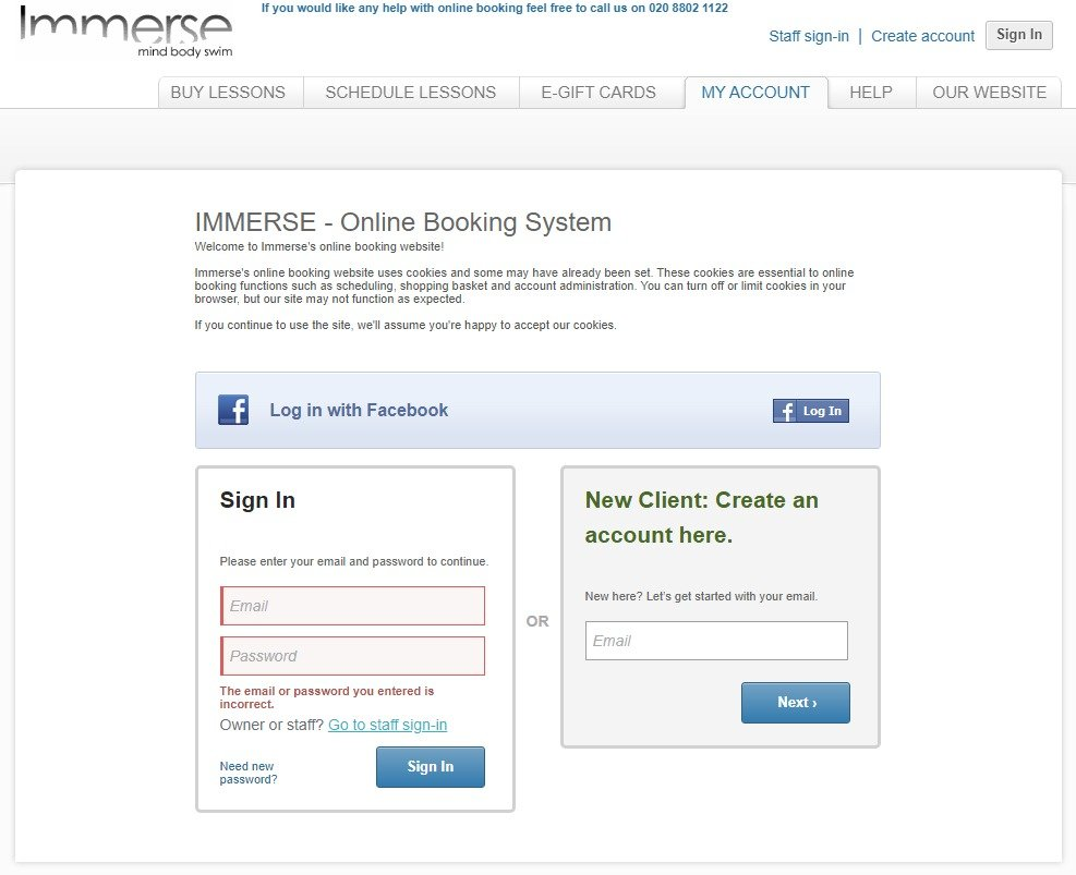 Immerse Booking System - Sign in error