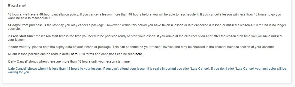 Reminder of lesson policies and terms and conditions