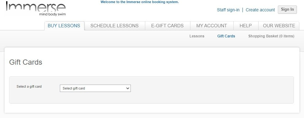 Buy Lessons tab - Gift Cards page