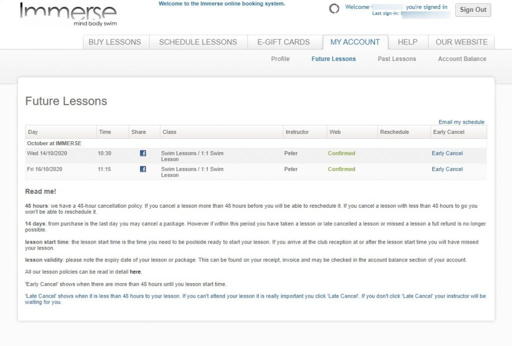 Immerse Booking System - My Account Tab - Future Lessons page