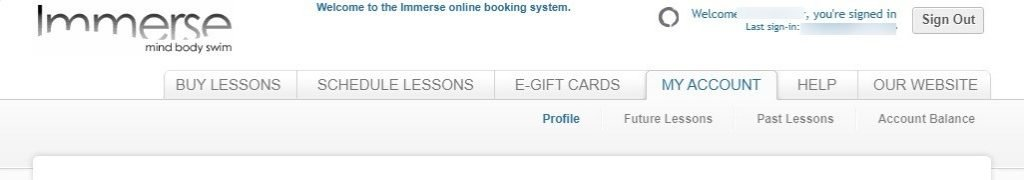 Immerse Booking System - My Account tab