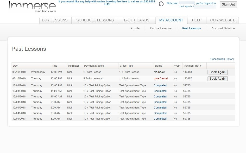 Immerse Booking System - My Account tab - Past Lessons page